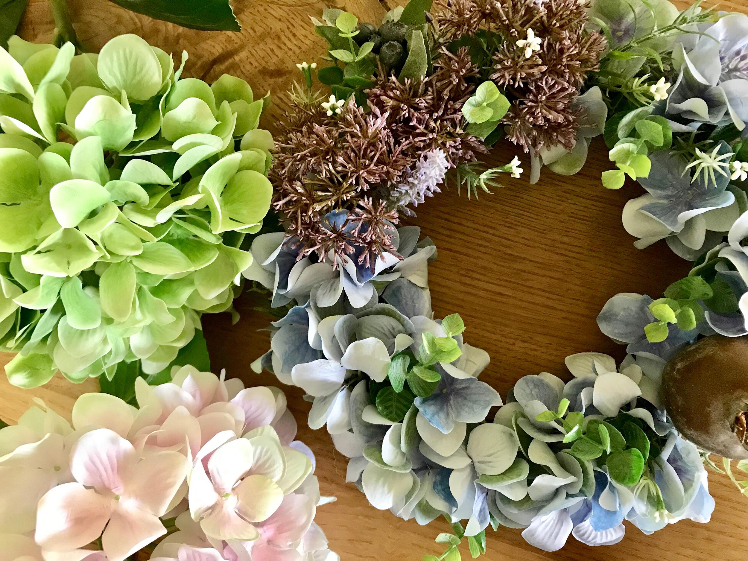 紫陽花の季節を楽しむ♫ 初夏の「ボタニカルリース作り」 ワークショップ